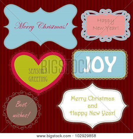 Set of christmas ng new year banners