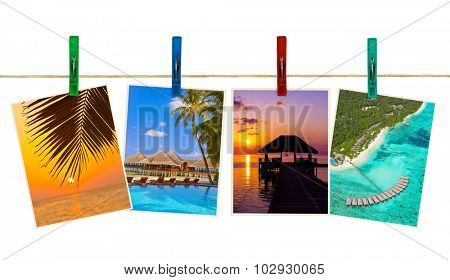 Maldives beach images (my photos) on clothespins isolated on white background