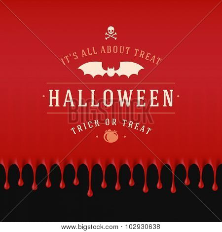 Vintage Happy Halloween Typographic Design Vector Background and Bat