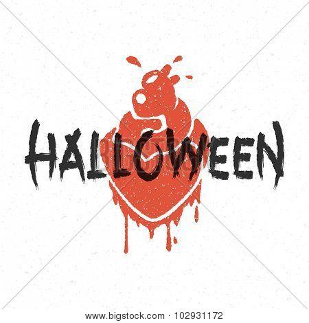 Halloween message and blood heart vector illustration
