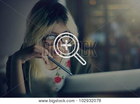 Zoom Examination Magnify Icon Symbol Concept