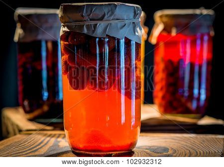 Compote Of Strawberries In A Glass Jar Homemade