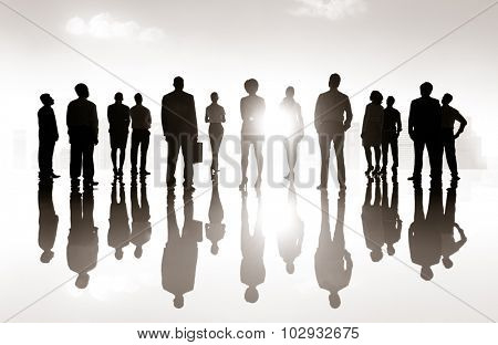 Group Business People Silhouette Looking Up Vision Concept