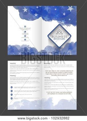 Professional Business Brochure, Template or Flyer design decorated with blue color splash and stars.
