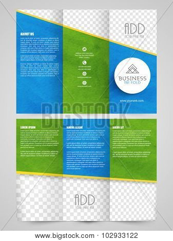 Creative professional Trifold Brochure, Template or Flyer presentation with free space for your image.