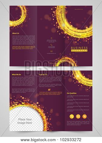 Creative Trifold Brochure, Template or Flyer presentation with space to add image for your Business.