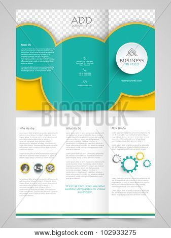 Creative professional Trifold Brochure, Template or Flyer design with free space for your image.