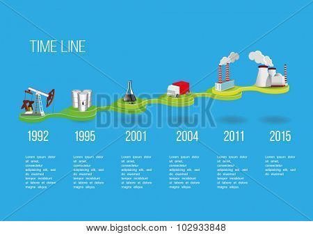 Business Time line with industrial buildings vector illustration