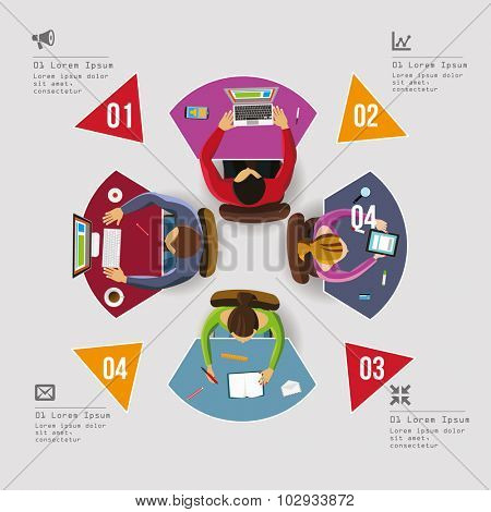 Infographics Element - Top View on Tables with People. Vector illustration.