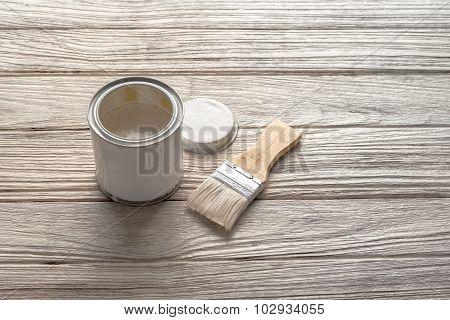 Paintbrush White Wood Coating Tool Wood Teak Still Life Background