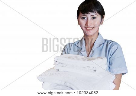 Asian Female Cleaner Holding Sheets On White