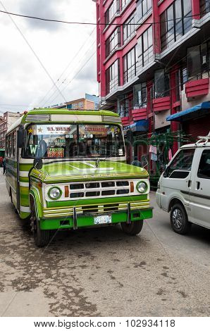 La Paz, Bolivia  - August 16, 2015: Traffic And Typical Taxi Car On August 16