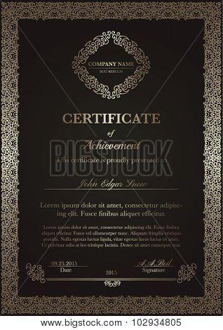 Certificate of achievement with vintage flourish elements. Detailed design elements. Decorative frame.