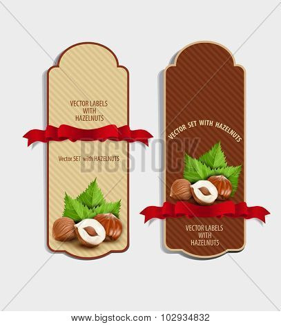 Vector set of vertical labels with hazelnuts and red ribbon (design element)