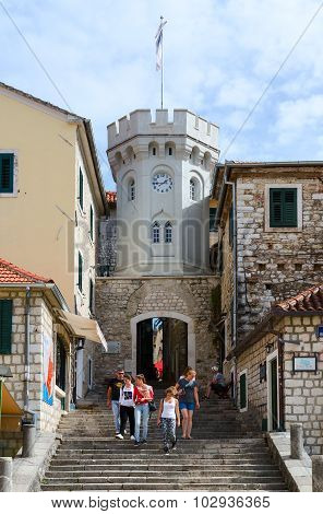 Tower Sahat Kula (clock Tower) In Herceg Novi, Montenegro