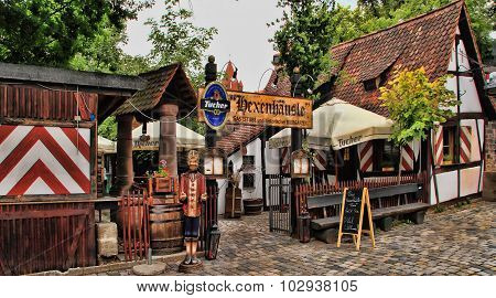 Nurnberg, Germany - July 13 2014. View Of A Small Cafe In The Center Of Nuremberg