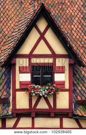 Window Decorated With Flower
