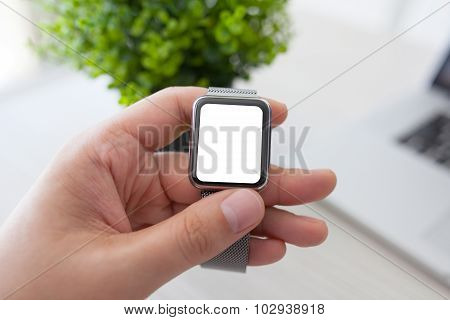 Man Hand Holding A Watch With Isolated Screen