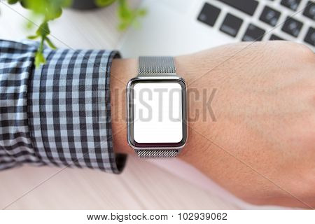 Man Hand And Watch With Isolated Screen