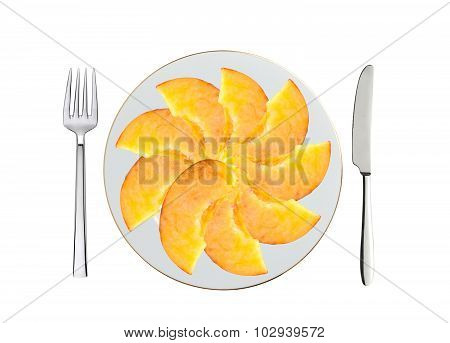 Fresh Peach Slices On White Plate, Spoon And Fork Isolated On White