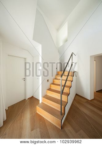 Interior, wooden staircase of a modern loft