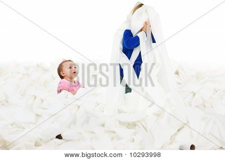 Children In Toliet Paper