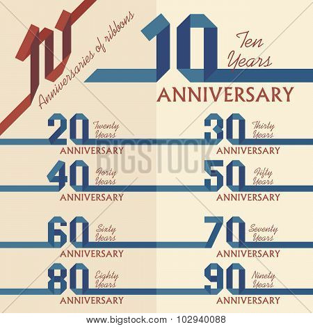 Blue Ribbon Anniversary Sign Collection