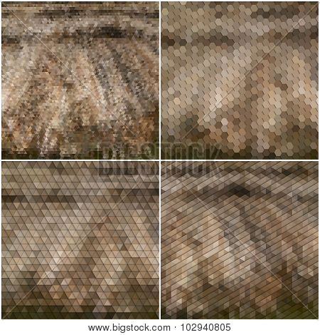 Dry straw texture. Collection of abstract multicolored backgrounds. Natural geometrical patterns. Tr