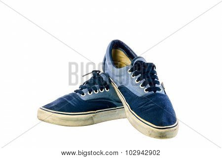 Dirty Blue Sneakers On White Background