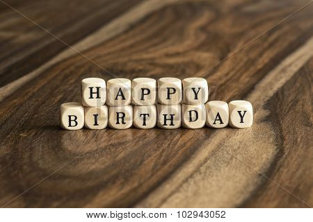 Word Happy Birthday On Wooden Cubes