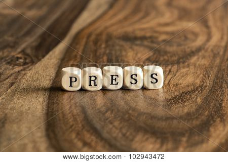 Word Press On Wooden Cubes