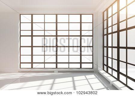 Empty White Loft Interior With Floor-to-ceiling Windows