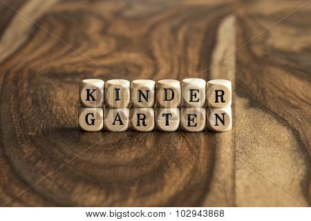 Word Kindergarten On Wooden Cubes