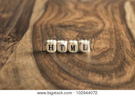 Word Html On Wooden Cubes