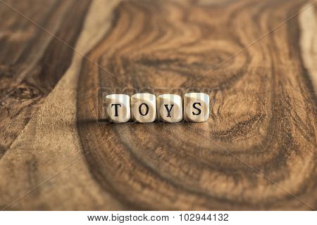 Word Toys On Wooden Cubes