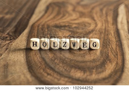 German Word Holzweg (means Wrong Track) On Wooden Cubes