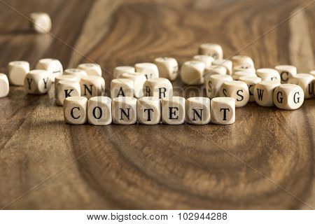 Word CONTENT On Wooden Cubes