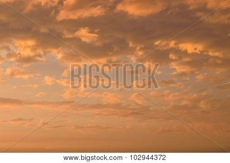 Fiery Orange Cloudscape, Sundown Background