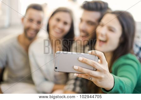 Friends faving fun and making a selfie