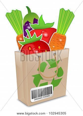 Organic Foods In The Paper Shopping Bag. Vector Illustration