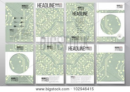Microchip backgrounds, electronic circuits. Brochure, flyer or report for business, vector templates