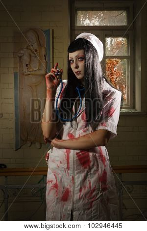 Horror Movie. Crazy Dead Nurse