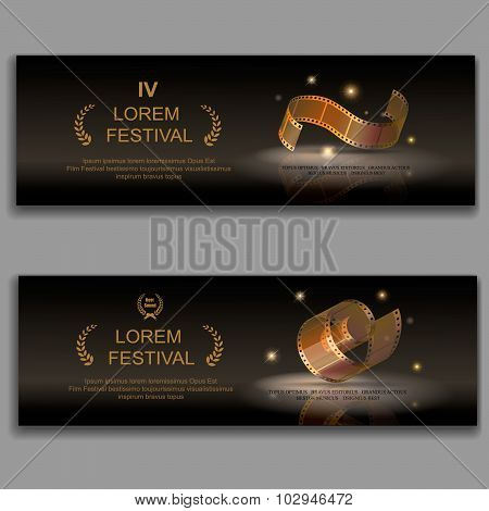 festival movie banners, Camera film 35 mm roll gold,  Slide films frame, vector illustration