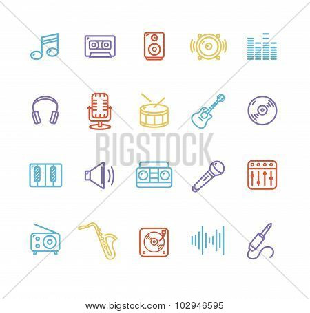 Music Icon Colorful Set. Vector