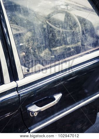 Classic Old Car Details With Door Handle