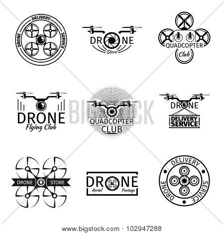 Aerial drone flying club labels, badges and logos vector set