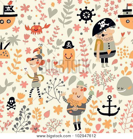 Funny pirates in cartoon seamless pattern. Sweet background with pirates, flowers, ship, whale, crab and octopus. Awesome seamless pattern in vector