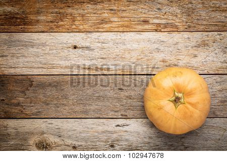 round winter squash on a grunge weathered barn wood with a copy space