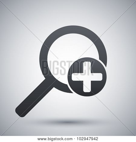 Vector Magnifier Icon With Plus Sign