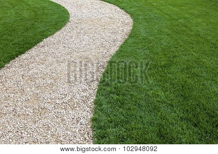 Garden Path And Green Lawn